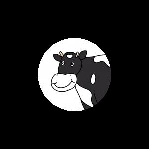 Annis Freund Kuh Elsa ist schwarz-weiß und lächelt