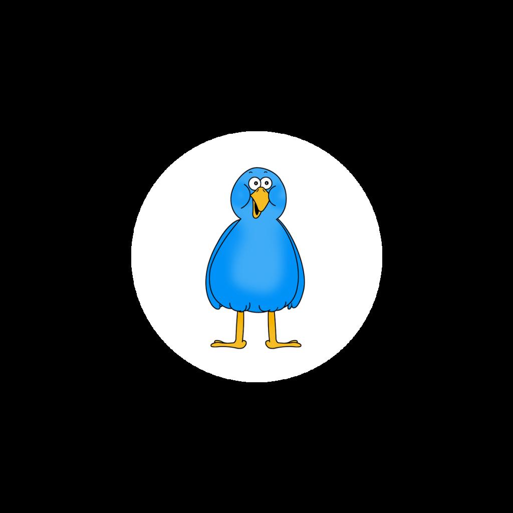 Annis Freund Federle ist ein blauer Vogel, der auf zwei Beinen steht