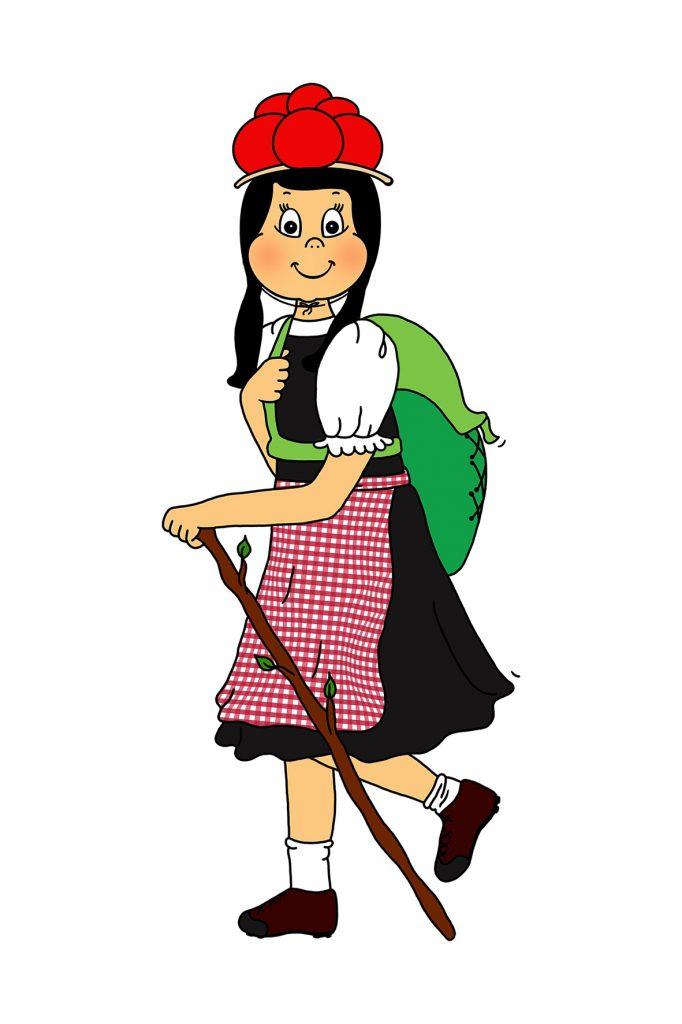Anni trägt ihre Tracht und wandert mit einem Wanderstock und schaut seitlich den Betrachter an