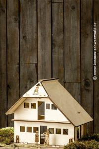 im unteren Bildteil steht ein Holzhaus mit Holzfiguren wie u.a. Anni und das Logo von Anni ist auf dem Dach zu erkennen