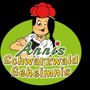 Das Logo von Annis Schwarzwaldgeheimnis besteht aus einer zwinkernden Anni sowie den bunten Buchstaben